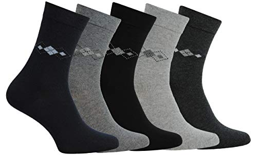 CHiLI Lifestyle Socks - 10 Paar Damen Socken Recycled aus Baumwolle mit Raute-Motiv Baumwollsocken in Schwarz Grau Navy Strümpfe Frauen Socken (35-38)