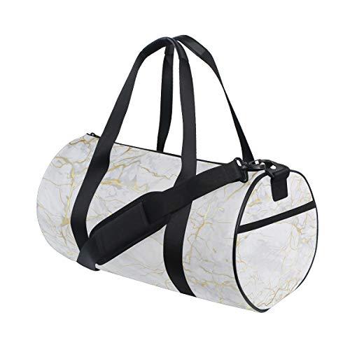 ZOMOY Bolsa de Deporte,Textura de mármol Blanco Dorado,Nuevo Cilindro de impresión Bolsas de Ejercicios Bolsa de Viaje Equipaje Bolsa de Lona