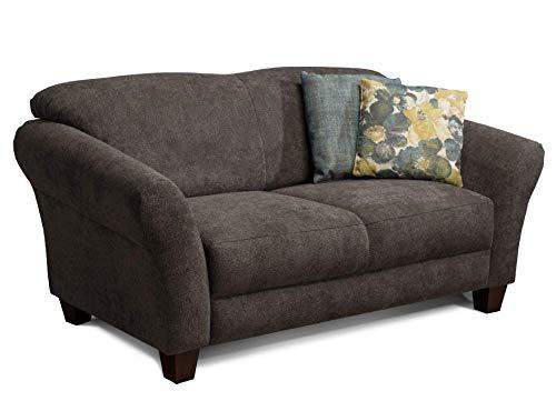 CAVADORE 2-Sitzer Gootlaand / Großes Sofa im Landhausstil / Mit Federkern / 163 x 89 x 84 / Dunkelgrau