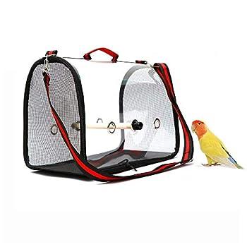 WSNDG Sac de Transport d'oiseaux, Cage de Voyage pour Oiseaux légère et Portable, Sac à Main Respirant Transparent en PVC pour Perroquet et Petits Animaux (Rouge + Noir)