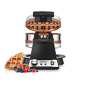 CRUX Double Rotating Belgian Waffle Maker with Nonstick Plates Stainless Steel Housing & Browning Control