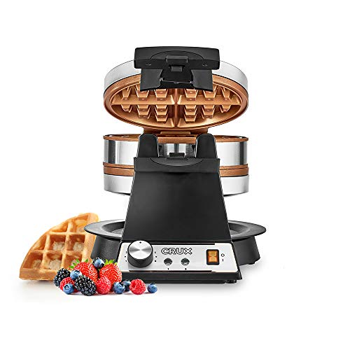 CRUX Double Rotating Belgian Waffle Maker with Nonstick Plates,...