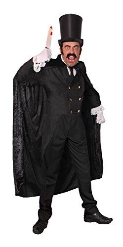 Män deluxe jack the ripper fantastisk klänning skoter – svart jacka, topphatt, falsk knä, huvad sammetslocka, svart slips, vita handskar, svart mustasch och svarta sidobrudar (liten)