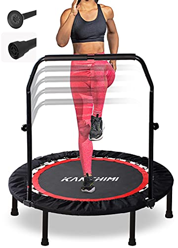 Kanchimi 40' Folding Mini Fitness Indoor Exercise Workout Rebounder Trampoline with Handle, Max Load 330lbs(Black)