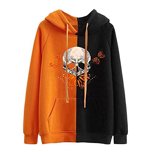 GFGHH Y2k Aesthetic - Sudadera de manga larga para mujer, diseño de calabaza con retrato, talla E Girl 90, chaqueta de manga larga para Halloween o carnaval, Orange F., XXL