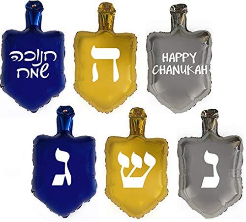 6 Hanukkah Dreidel Balloon Decorations with Stickers for Chanukah Parties.