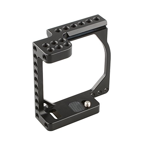 """CAMVATE — Caixa de câmera de alumínio para Sony A6500, A6000, A6300, ILCE-6000, ILCE-6300, NEX7 com furo adaptador de conversão 1/4""""-20 (preto e branco)., Black-2"""