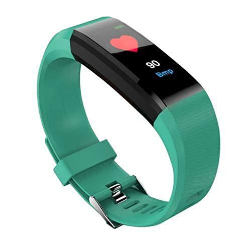 LYB Bluetooth Deportes Pulsera Unisex Color Pantalla Táctil Tasa De Corazón Presión Arterial Reloj Inteligente Impermeable para Xiaomi iPhone (Color : Green)