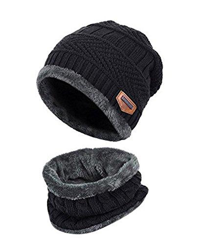 ZZLAY Kinder Winter Dicke Beanie Hut Schal Set Slouchy Warmen Schnee Knit Skull Cap,Einheitsgröße,schwarz