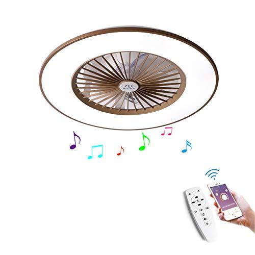 YAOXI - Ventilador de techo con mando a distancia para habitación moderna, ventilador de techo y salón, regulable, 56 cm, color marrón