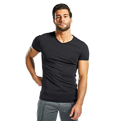 SMILODOX Herren T-Shirt Weavy Kurzarm Funktionsshirt für Sport Fitness Gym & Training | Trainingsshirt - Laufshirt - Basic schlicht, Farbe:Schwarz, Größe:S