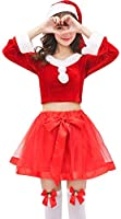 S&C Live クリスマスコスプレ レディース オフショルチュールセットアップサンタ3点SET 美しいデコルテライン 長袖 フレアスリーブ もこもこファーポンポン ふわふわミニスカサンタ ボリューム満点チュール リボン付 サンタ コスプレ サンタ コスチューム サンタ仮装 大きいサイズ 安い クリスマス サンタクロース コスチューム 仮装 セクシー 大きいサイズ サンタワンピ ドレス サンタ衣装 長袖 セクシー サンタコスチューム セットアップ サンタ帽子 2018新品 赤 レッド クリスマスイベント パーティ 余興 X'MAS SANTA COS#171119 (フリーサイズ)