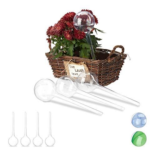 Relaxdays 8 x Bewässerungskugeln, Dosierte Bewässerung, 2 Wochen, Versenkbar, Topfpflanzen, Kunststoff, Durstkugeln, transparent