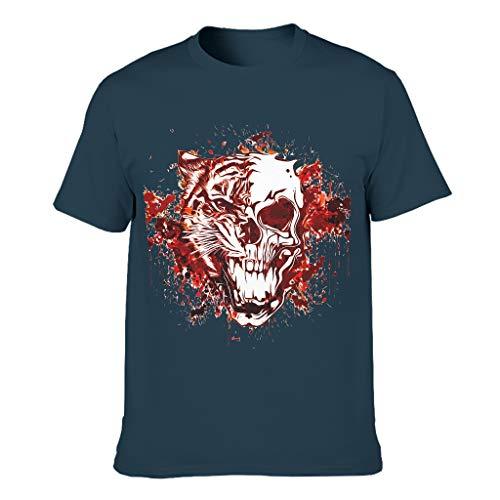 Camiseta de algodón para hombre, diseño de tigre, divertida, ligera azul marino M