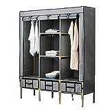 Armario simple y moderno para colgar ropa doble de tela para armario, tubo de acero, refuerzo audaz, simple armario, montaje de tela para armario, armario (color: A)