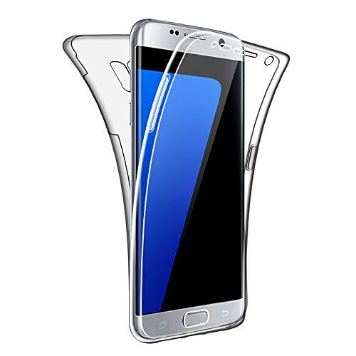 SDTEK Funda para Samsung Galaxy S7 Edge 360 Doble Delantera [Transparente Carcasa] Full Body Case Bumper Cover Suave Silicona Samsung Galaxy S7 Edge