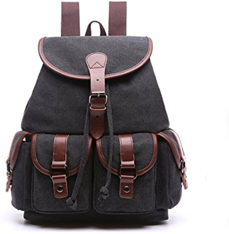 Canvas Bag with Solid Backpack Cotton Shoulder Bag Outdoor Casual Bag 29 cm  13 cm  38 cm, Black