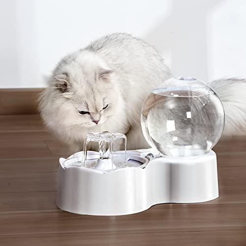 XKISS ペット噴水水ディスペンサーペット自動給水器 給餌器 犬 猫 給水機 給餌ボウル 健康 衛生 安全 水飲み器 餌皿 フードディスペンサー ペットボトル 水 餌入りセット 猫 中小型犬 ペット用品