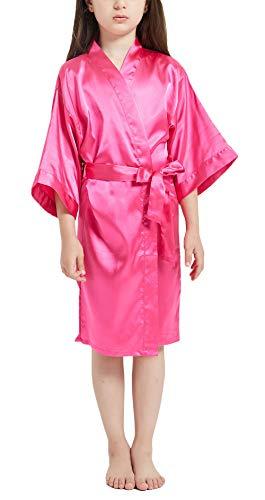 Happy Cherry - Albornoces Satén Bebé Niña Verano Batas Pijamas Bebés Niños Suave Larga Manga para Dormir Ropa Kimono Niñas con Faja Ajustable - 10-11 Años