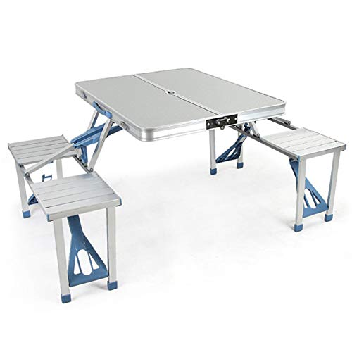 Aluminum Picnic Table, Portable Folding Table, Bench Set Camping Garden Party BBQ 4 Chair Stool Table Foldable Portable