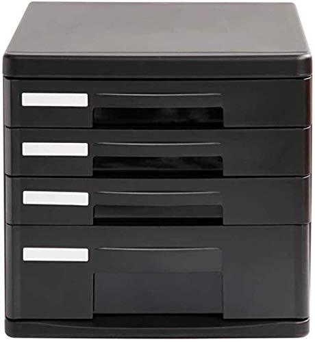 Qazxsw Archivadores 4 cajones Escritorio Mesa con cajones Almacenamiento Oficina Móvil (Color: Negro, Tamaño: 26,3x25x34cm)
