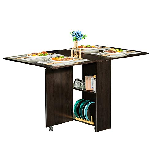 Tiptiper Folding Dining Table with 2 Storage Racks, Movable Dinner Table with 6 Wheels, Space Saving Versatile Kitchen Table