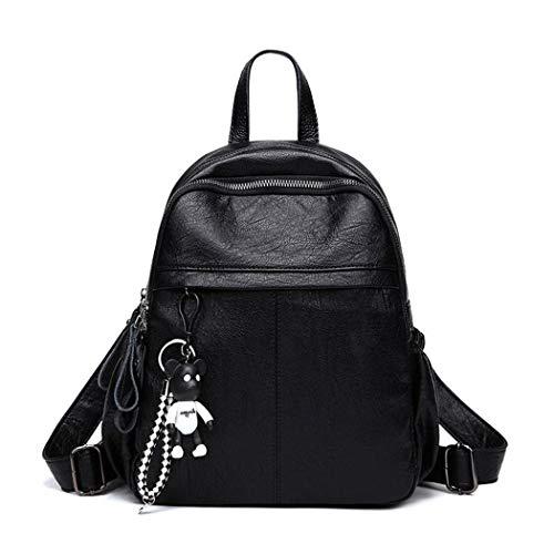 BUKESIYI Damen Tasche Rucksack Handtasche Frauen backpack Klein Anti Diebstahl Schulrucksack Laptop Weekender PU Leder CCDE78214 Schwarz