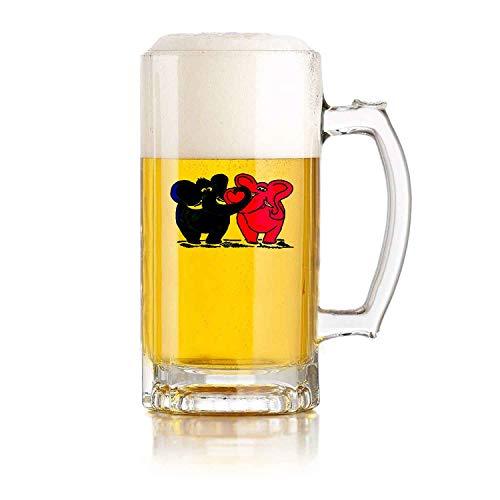 PICOM99 Boccale di Birra in Vetro con Manico Love Elephants (16 oz) Resistente alle Cadute Durevole