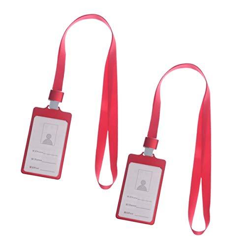 吊り下げ名札 縦 型 ハード 2個 セット 赤色 ネックストラップ 付き 社員証 ケース アルミニウム ID IC カード ネーム ホルダー [waschosen] (赤 レッド)