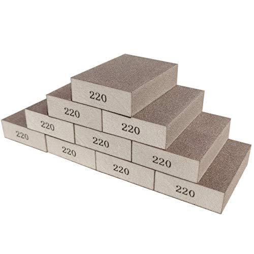 Sackorange 10 Pack 220 Grit Sanding Sponge, Washable and Reusable Sanding Blocks Great for Pot Brush Pan Brush Sponge Brush Glasses Sanding Wood Sanding Metal Sanding (220 Grit-10 Pack)