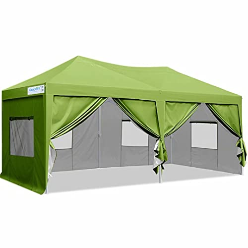 Quictent Privacy 10x20 ft Ez Pop up Canopy Tent Enclosed Instant Shelter Party Tent Event Gazebo with Sidewalls Waterproof (Green)