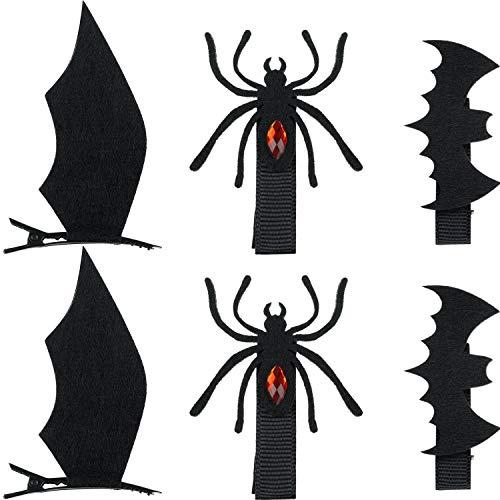 Las Pinzas para el Cabello de Dibujos Animados de Halloween de 18 Piezas Incluyen Pinzas para el Cabello con Forma de alas de Murciélago Patrón de Diablo Horquillas para el Cabello Accesorios