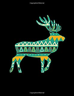 "NOTEBOOK: Vintage Aztec Boho Deer Animal Silhouette Blank White Paper Book Pad for Drawing, Doodling or Sketching - 8.5"" x..."