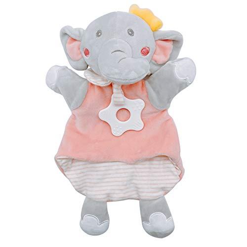 Manta cómoda para bebé, suave edredón de elefante, manta de seguridad con mordedor, suave juguete de felpa de marioneta de mano para bebés recién nacidos, niñas y niños, los mejores regalos (rosa)