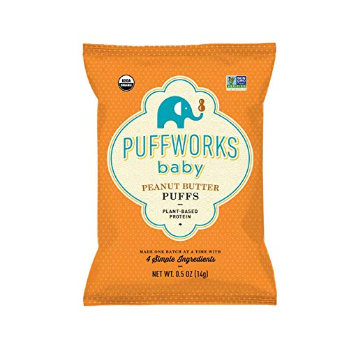 Puffworks Baby Peanut Butter Puffs | Baked Plant-Protein Snacks for Babies | Organic | Kosher | Non-GMO | Gluten-Free (12, 0.5 oz bags)