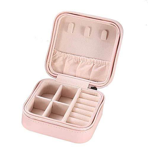 GUANYUA Joyería Mujer Viajes Joyería Organizador Capa Organizador Collar Pendiente Anillos Holder Estuche PU Caja Joyería Cuero Artificial, Caja Almacenamiento Joyas Anillos Pink