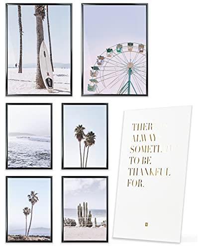 Heimlich® Premium Poster Set OHNE Bilderrahmen   Stilvolles Set mit passenden Bilder als Wohnzimmer Deko   2 x DIN A3 & 4 x DIN A4 - ca. 30x42 & 21x30   » Pastell Surf Palmen «
