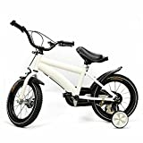 Bicicleta infantil de 14 pulgadas para niños y niñas, de color blanco, para niños a partir de 5 – 8 años, rueda ligera para aprender a andar, estable y segura con freno