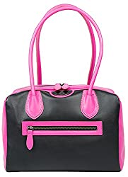 Front side of small pink and black bowler purse with lunch compartment