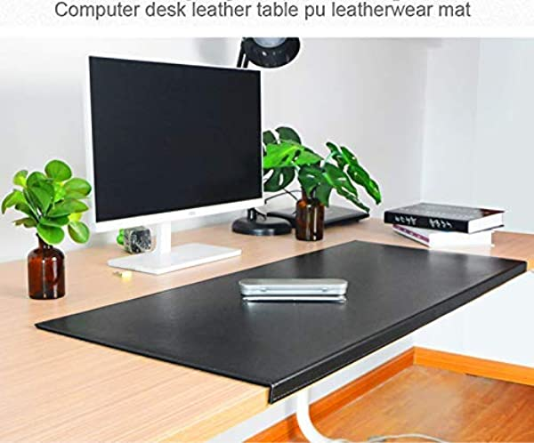 Non Slip 35 4 X 18 9 Soft Leather Surface Office Desk Mouse Mat Pad With Full Grip Fixation Lip Table Blotter Protector Black