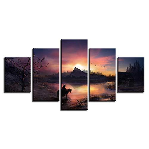 SDBY 5 Foto's op canvas afdrukken canvas afbeelding 5 delen dieren paard en vogel zonsondergang landschap schilderij decoratie woonkamer kunst muur