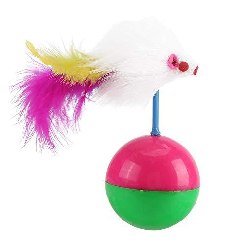 Zerodis Interaktives Katzenspielzeug für den Innenbereich, neckendes Spielzeug Teaser Buntes Federball-lustiges Spiel für Haustier-Kätzchen-Katzen-intelligentes Spielzeug