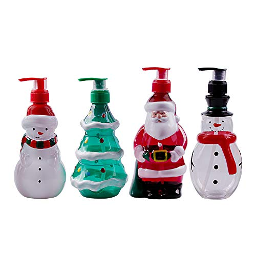 Christmas Theme Dispenser Bottle Soap Dispenser, Shampoo Dispenser, Lotion Containers, Santa Claus, Snowman, Christmas Tree Shaped Plastic Pump Bottle, 11 Fluid OZ, 7 Inches High, 4 Pack