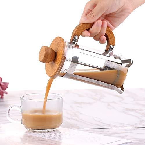 DCGSADFW 350ml Bamboe Hout Drukpot Koffie Pot Hand Punch Huishoudelijke Filter Druk Thee Brouwen Koffie Apparaat Glas