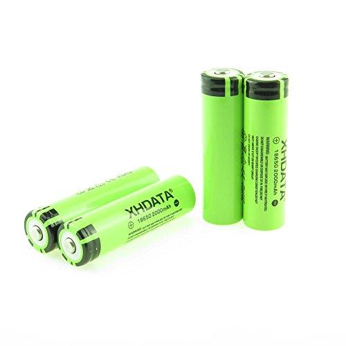 XHDATA 2000mAh 3,7V-Batterie Lithium-Ionen wiederaufladbare Hochleistungsbatterien Gr¨¹n(2000mah-2pc)