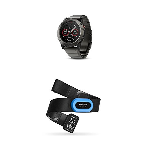 Great Deal! Garmin Fenix 5X Sapphire - Slate Gray with Metal Band and HRM-Tri Heart Rate Monitor