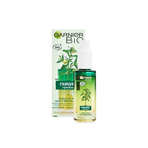 Garnier Bio - Huile de Nuit Multi-Réparatrice Visage - Au Chanvre Nourrissant & Vitamine E - Peaux Stressées & Sensibles - 30 ml
