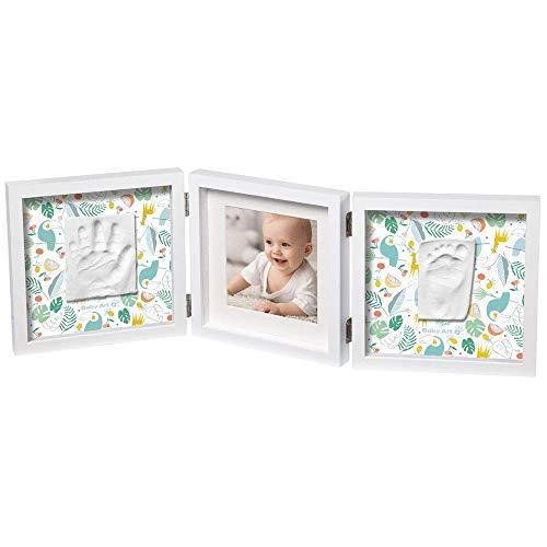 Baby Art My Baby Style Cornice Doppia Portafoto con 2 Kit Impronta per Mano e Piede del Neonato, Regalo Nascita o Bomboniera per Battesimo, Sfondo Fan