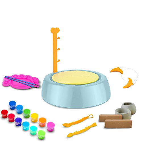 BuddynBuddies- Pottery Studio, Clay Pottery Wheel Craft Kit for Kids Age 8 and Up, Air Dry Sculpting Clay and Craft Paint kit for Kids, Educational Toy for Kids Beginners (Green)