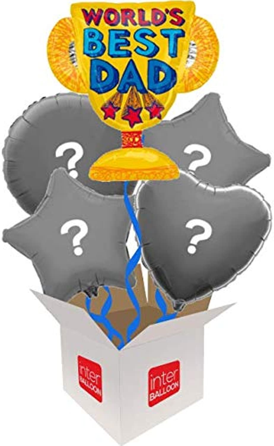 InterBalloon Helium Inflated 27  World's Best Dad Trophy Balloon Delivered in a Box with 4 Extra Balloons of your choice